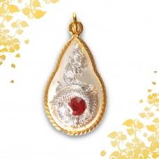 Pha Ya Naka Loop - Silver with Red Stone -
